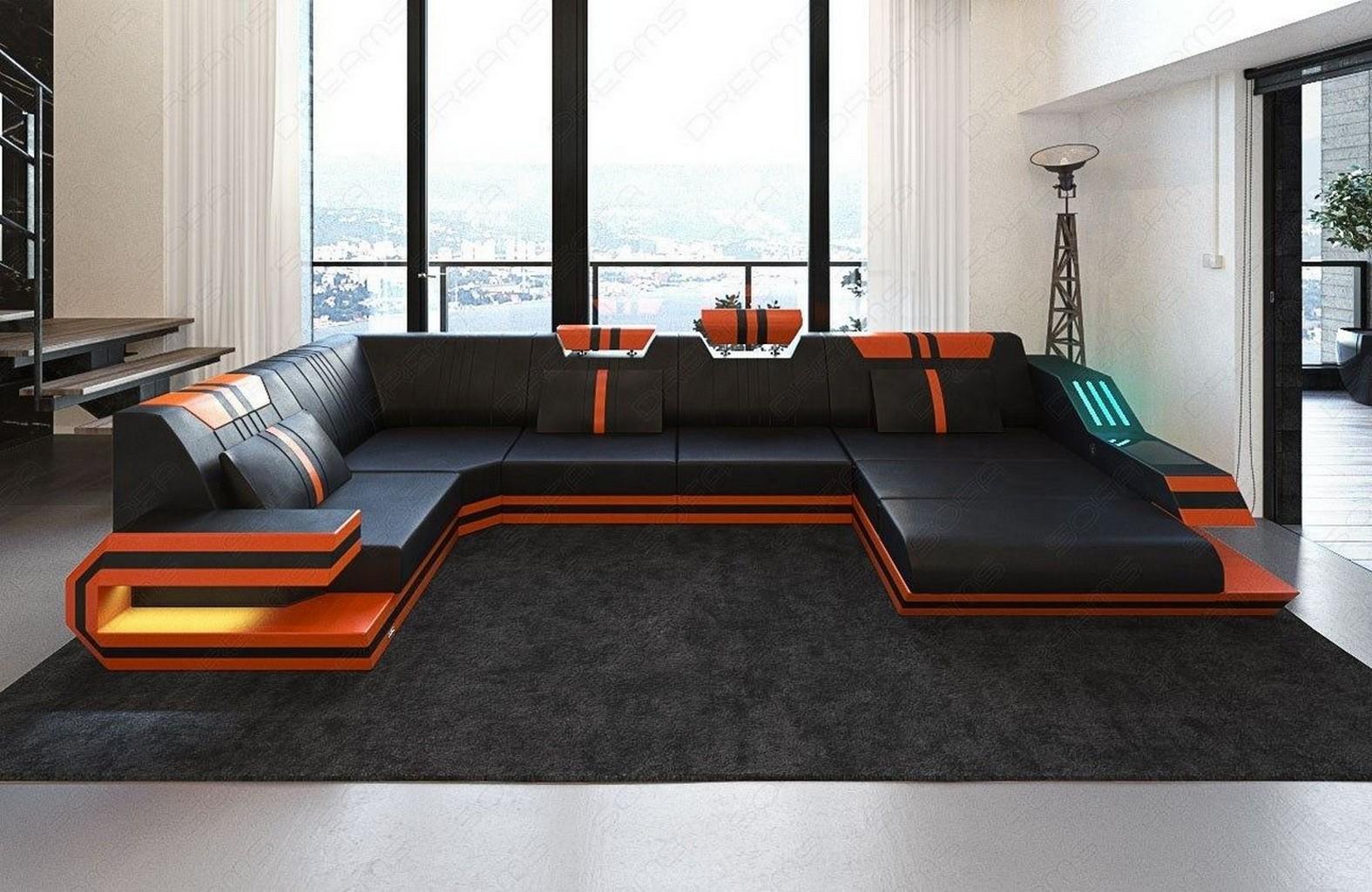 wohnlandschaft ravenna u lerdercouch mit led beleuchtung und usb schwarz orange ebay. Black Bedroom Furniture Sets. Home Design Ideas