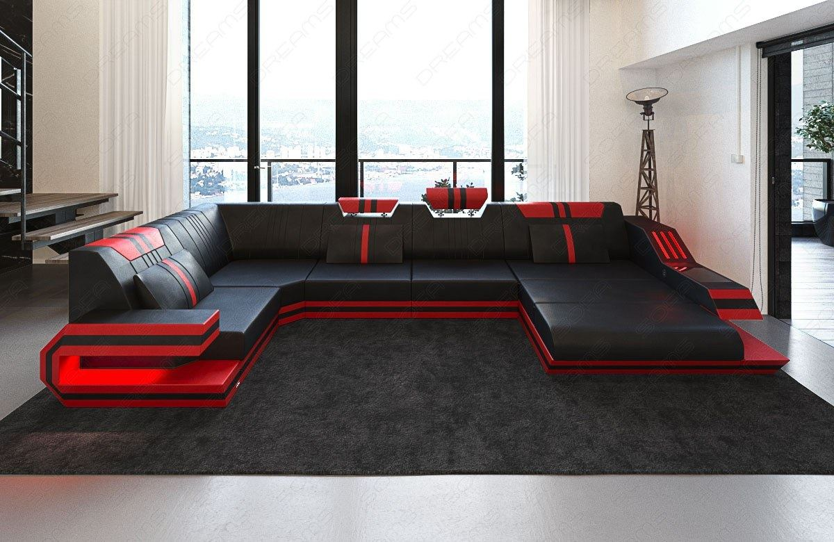 designersofa ravenna u leder wohnlandschaft mit led beleuchtung usb schwarz rot ebay. Black Bedroom Furniture Sets. Home Design Ideas