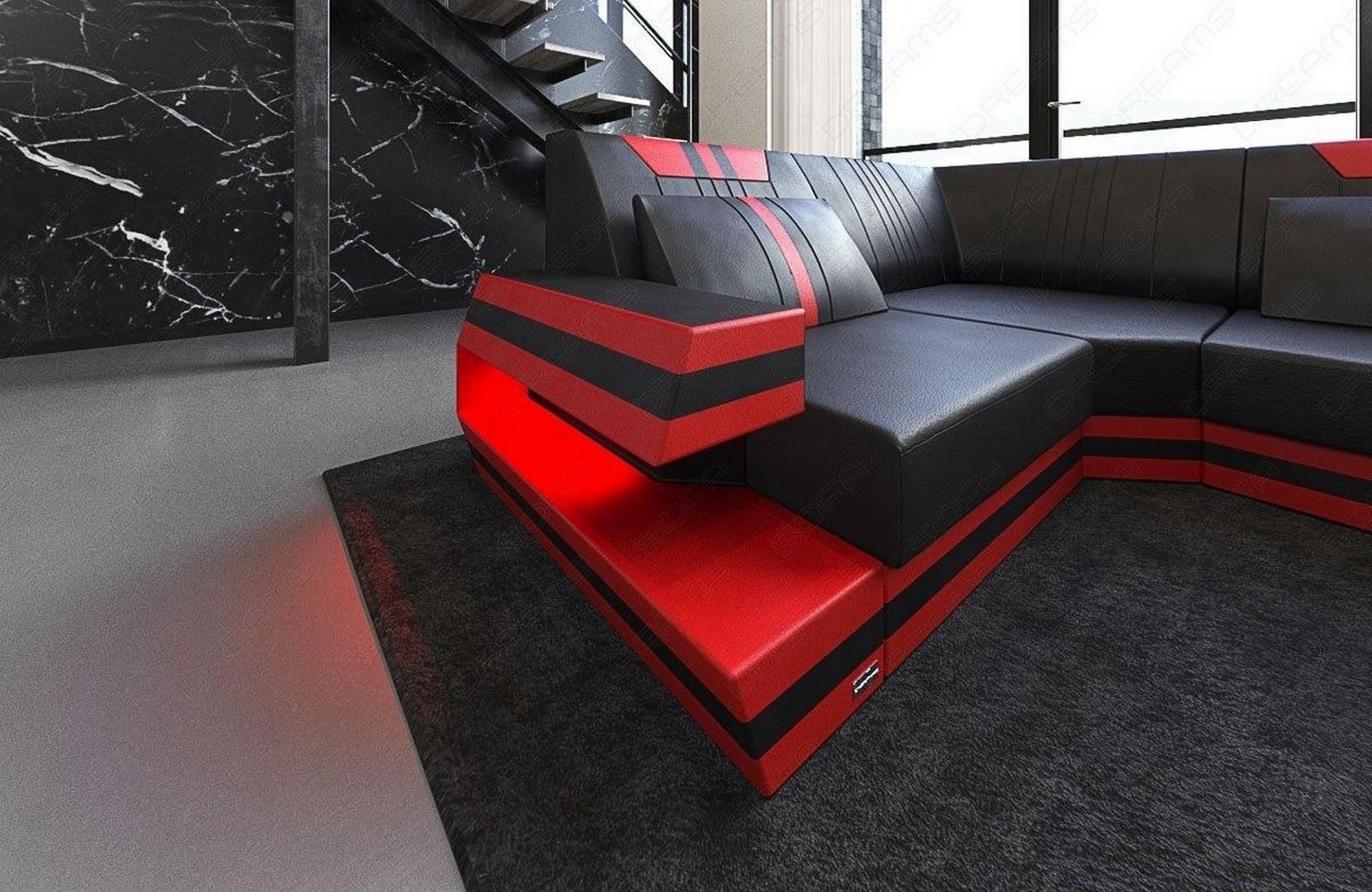 designersofa ravenna u leder wohnlandschaft mit led beleuchtung usb schwarz rot ebay. Black Bedroom Furniture Sets. Home Design Ideas
