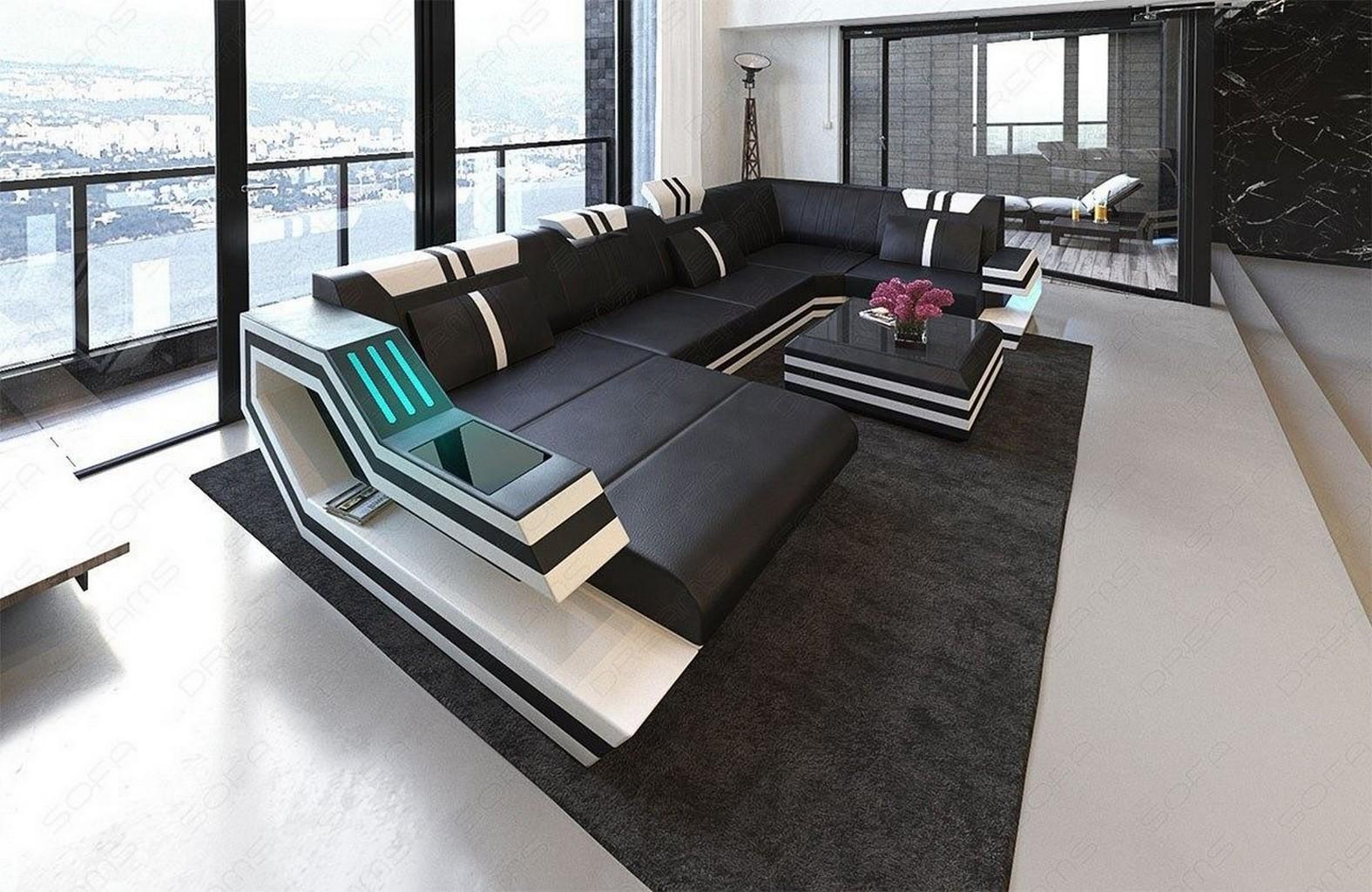 Couch u form  Leather Sectional Sofa RAVENNA U Shape Corner Sofa + LED Lights ...