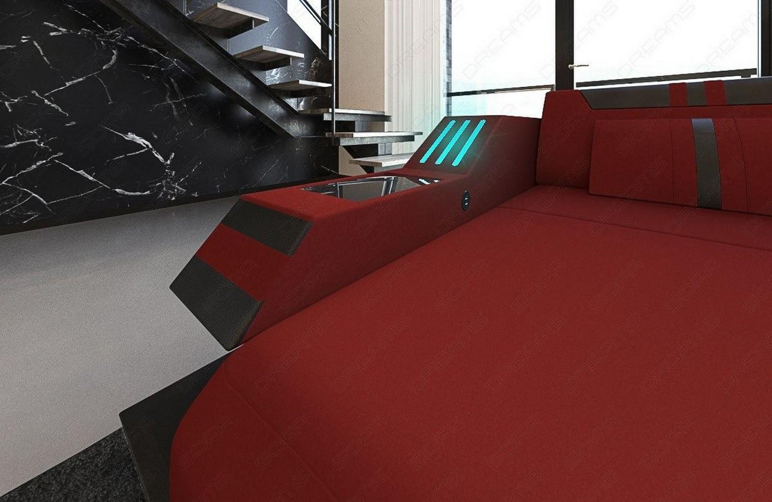 Stoffsofa Im Stoff Leder Ravenna Xl Luxus Wohnlandschaft Rot Mit Led Beleuchtung Ebay