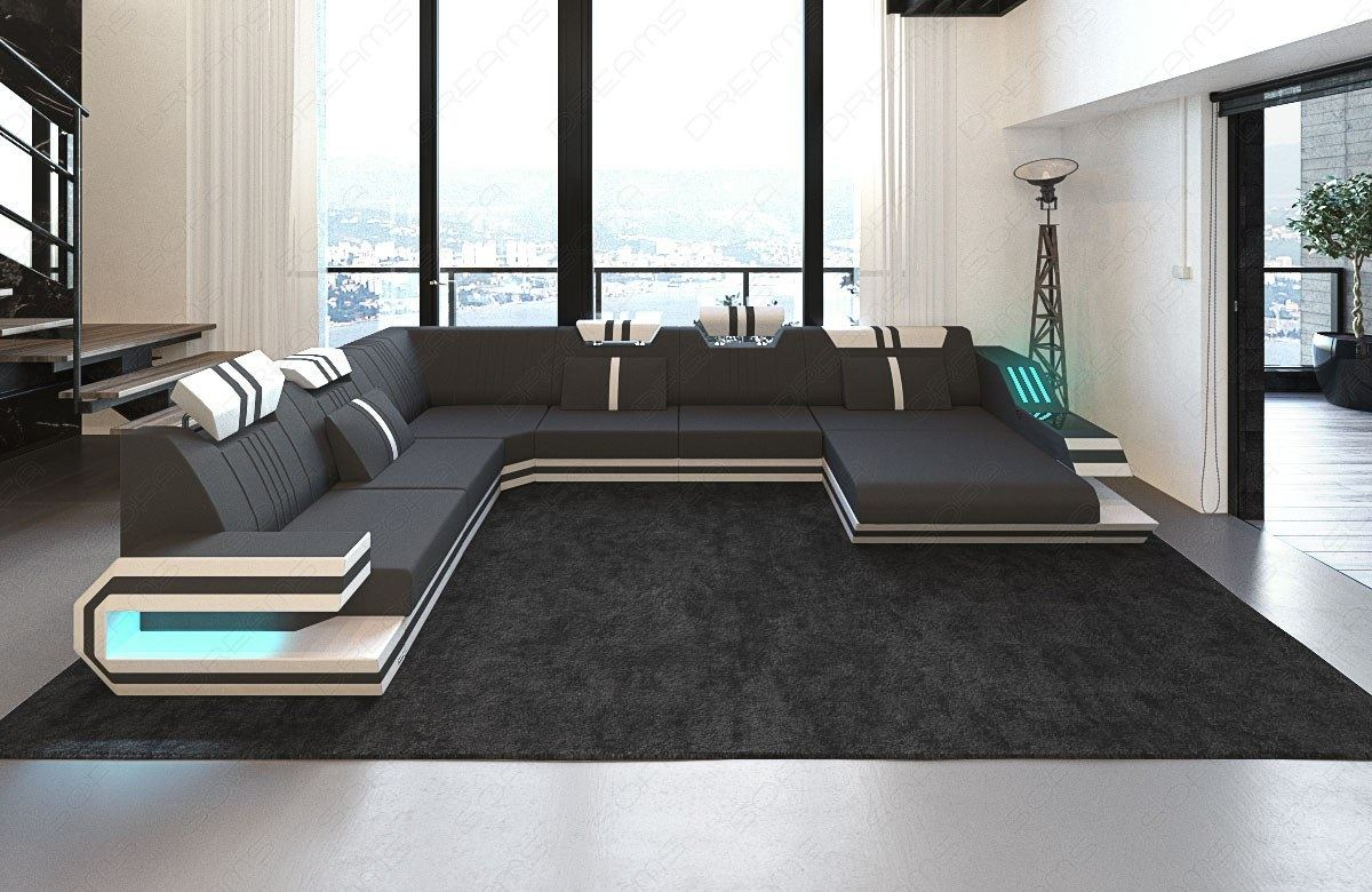 sofa ravenna xl grey designer couch leather with led lighting and usb ebay. Black Bedroom Furniture Sets. Home Design Ideas