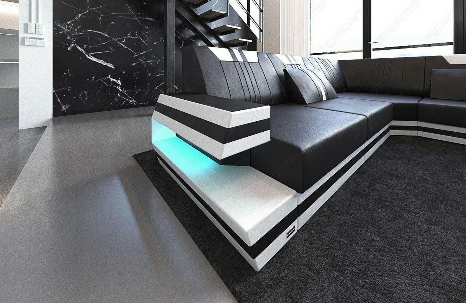 Wohnlandschaft couch luxus ravenna xl beleuchtung ottomane - Sofa mit ottomane ...