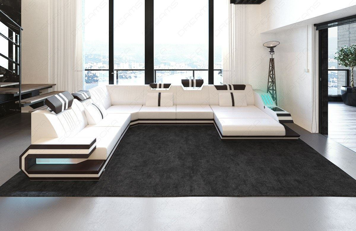 ledersofa ravenna xl mit led rgb beleuchtung usb weiss dunkelbraun ebay. Black Bedroom Furniture Sets. Home Design Ideas