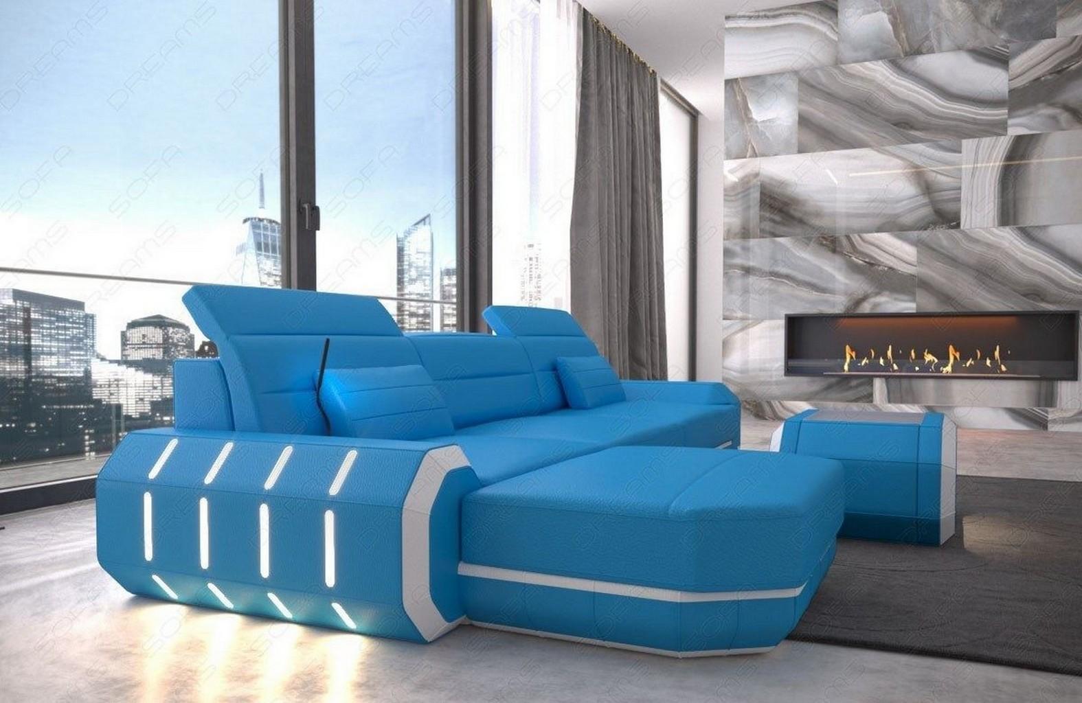 designer leder sofa luxussofa roma l form mit usb und led. Black Bedroom Furniture Sets. Home Design Ideas