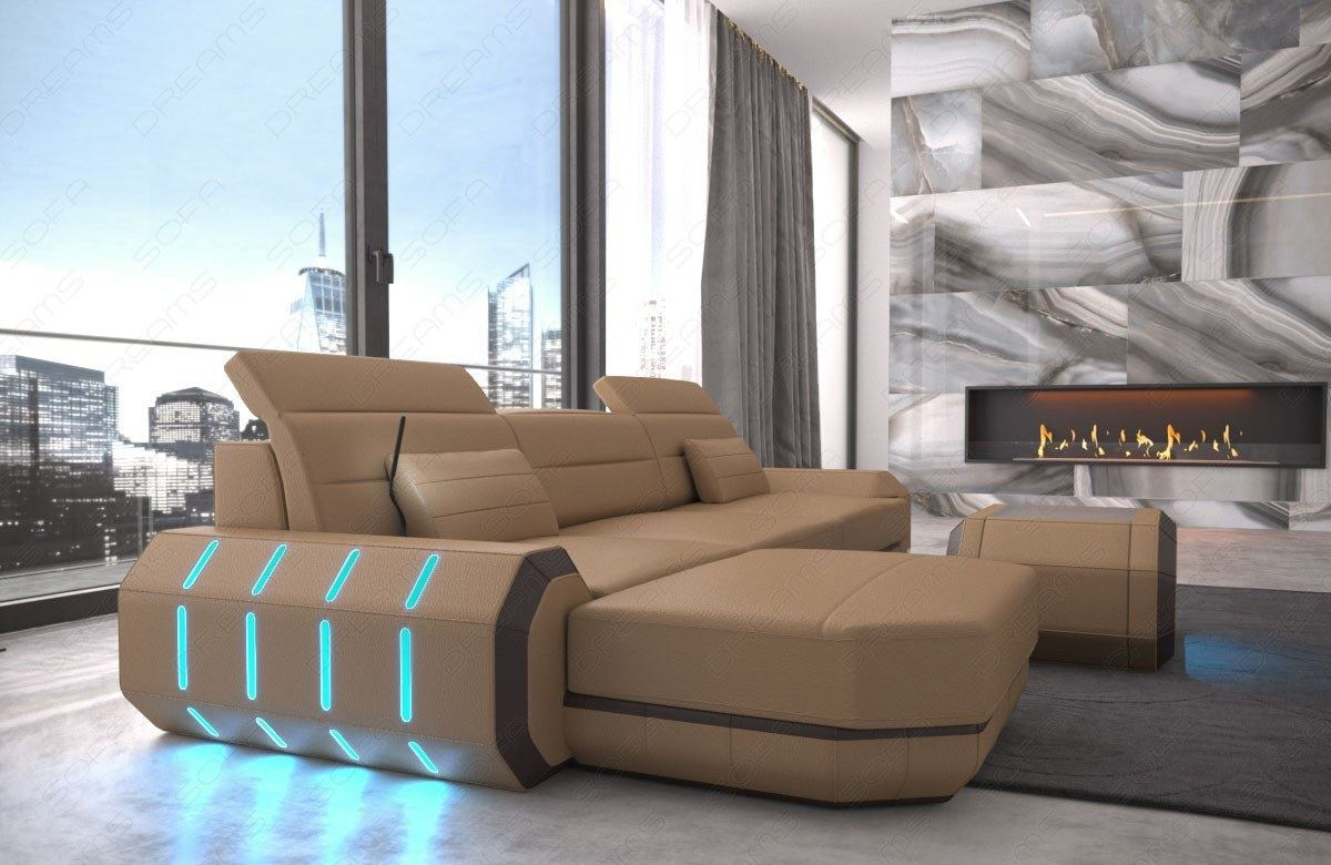 sectional sofa leather roma l shape corner sofa design couch led lights usb ebay. Black Bedroom Furniture Sets. Home Design Ideas
