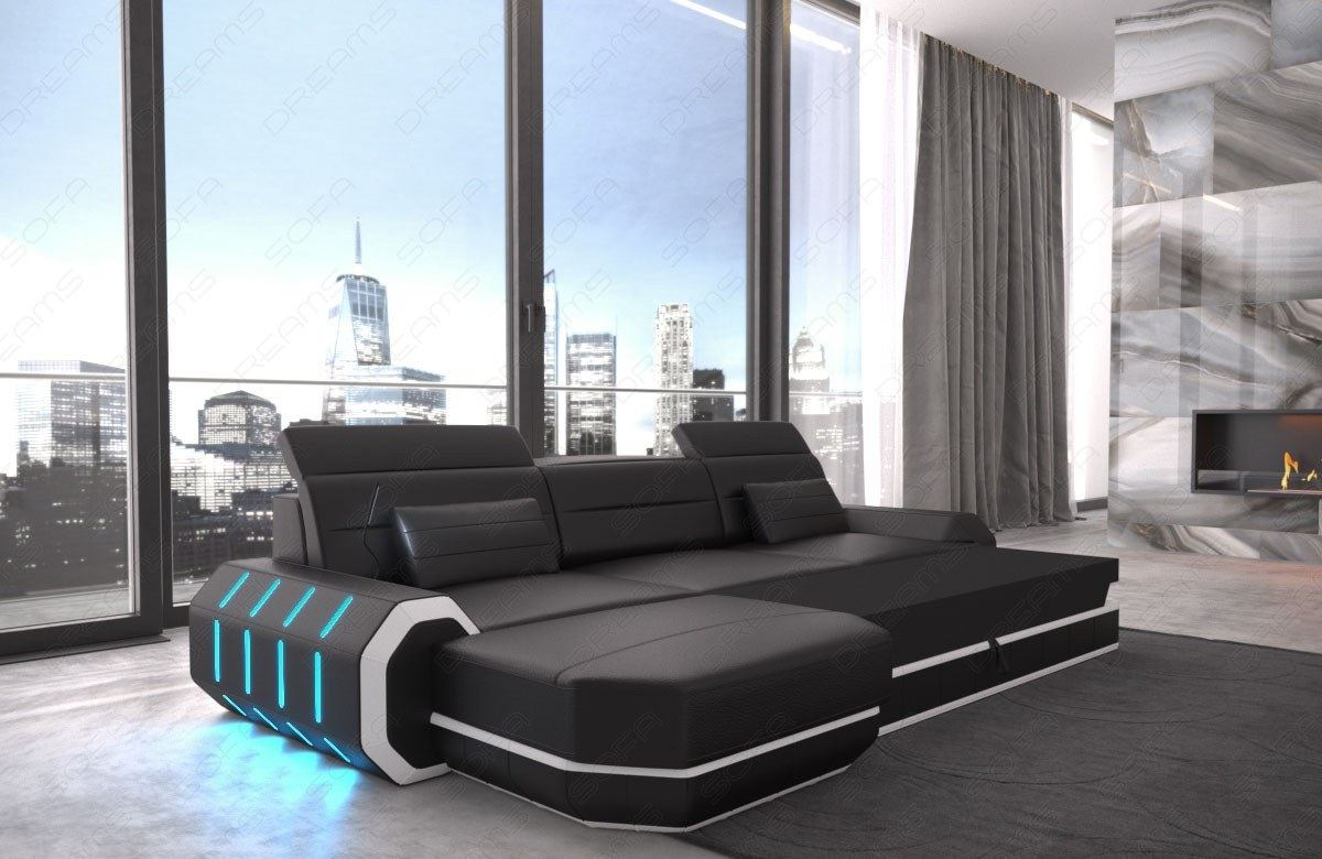 sectional sofa leather roma l shape corner sofa design couch led. Black Bedroom Furniture Sets. Home Design Ideas