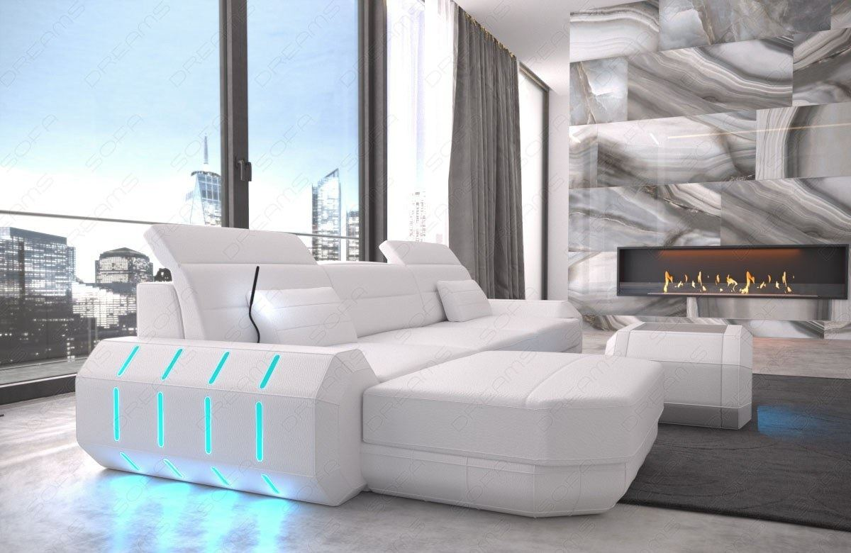 real leather sofa design sofa roma l shaped corner couch with led usb ebay. Black Bedroom Furniture Sets. Home Design Ideas