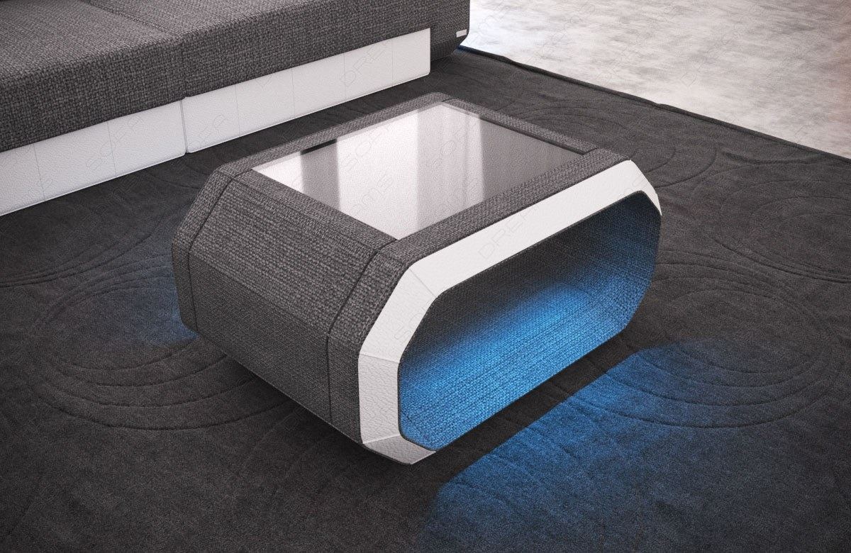couchtisch wohnzimmertisch leder stoff mix roma led beleuchtung design tisch ebay. Black Bedroom Furniture Sets. Home Design Ideas