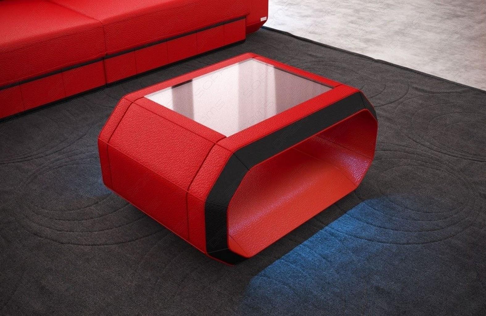 design couchtisch roma leder wohnzimmertisch led beleuchtung mit akku farbwahl ebay. Black Bedroom Furniture Sets. Home Design Ideas