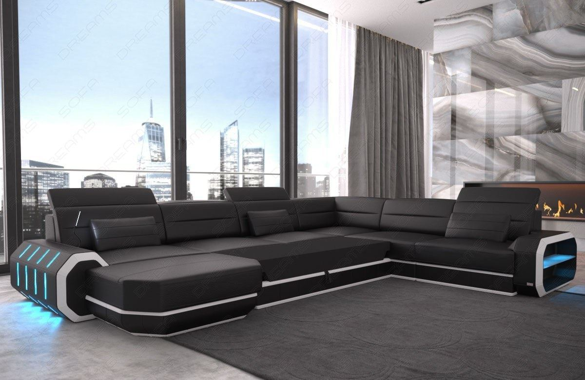 leather sectional sofa xl roma big cornersofa design couch led lighting usb ebay. Black Bedroom Furniture Sets. Home Design Ideas