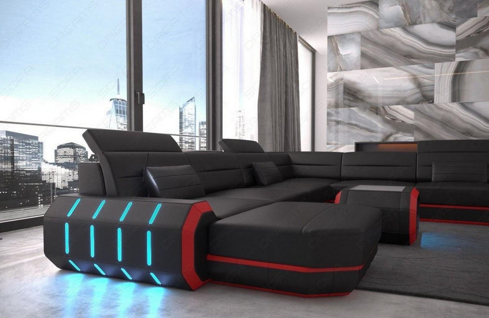 Xl wohnlandschaft ecksofa roma designersofa couch mit led for Wohnlandschaft luxus