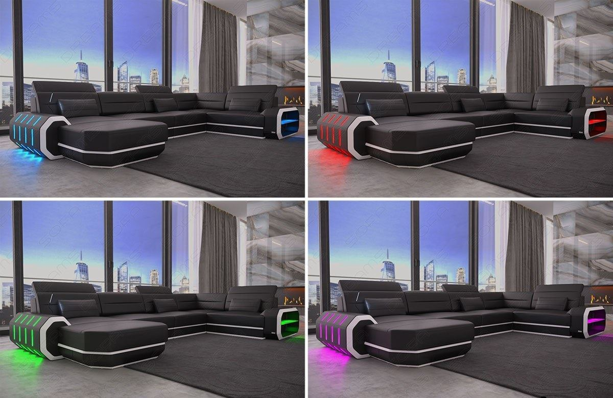 Sectional sofa leather roma l shape corner sofa design for Couch mit led