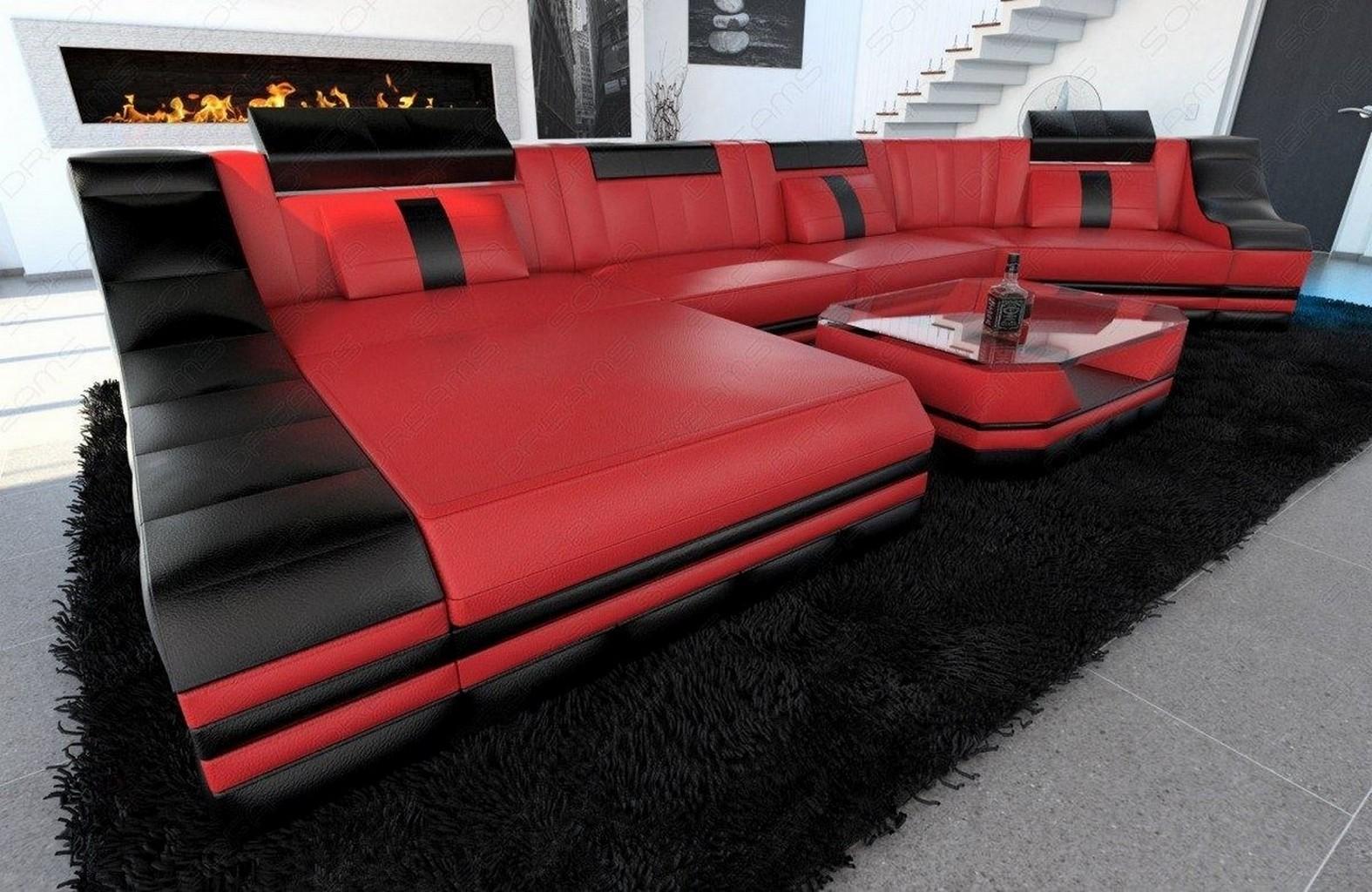 Ledercouch turino c form led beleuchtung designer couch for Wohnlandschaft rot schwarz