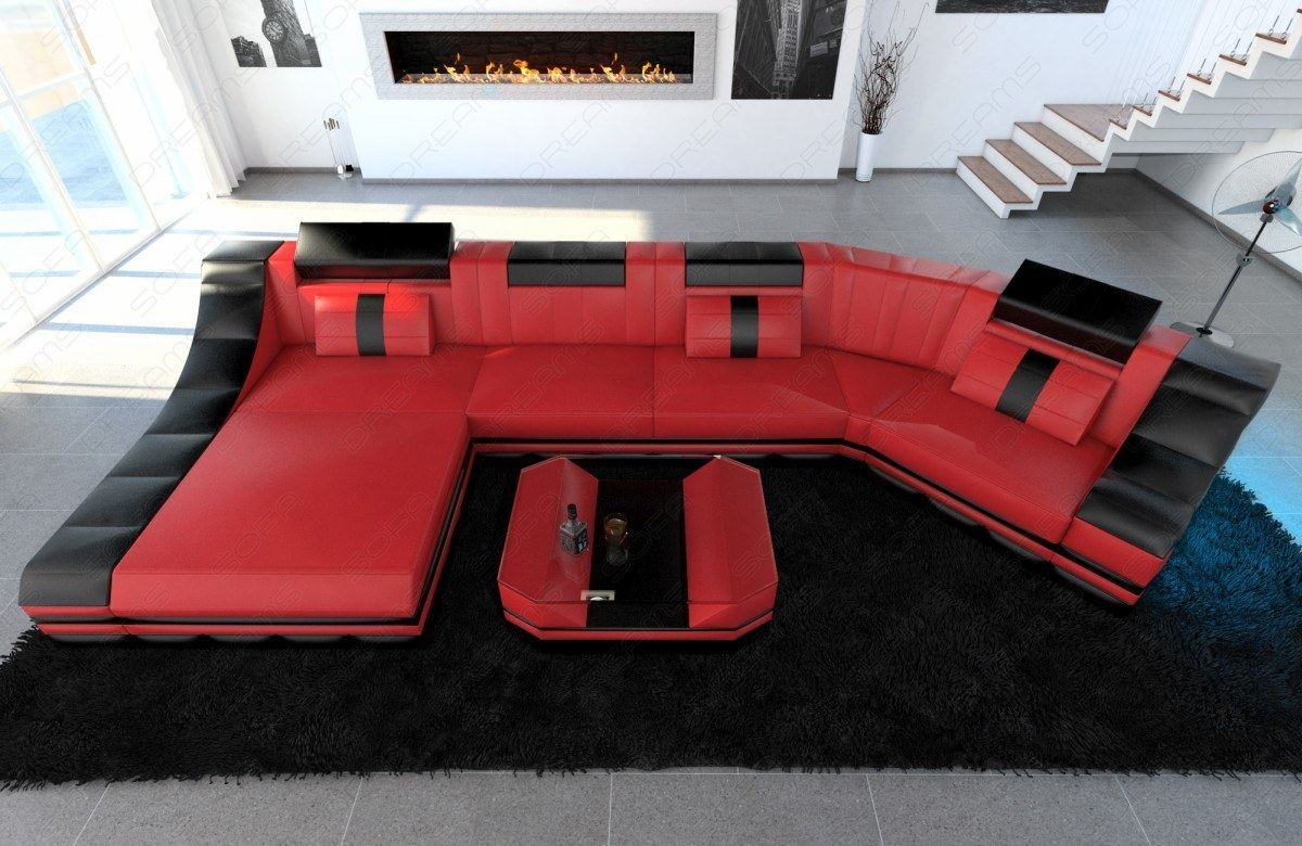 ledercouch turino c form led beleuchtung designer couch rot schwarz ebay. Black Bedroom Furniture Sets. Home Design Ideas
