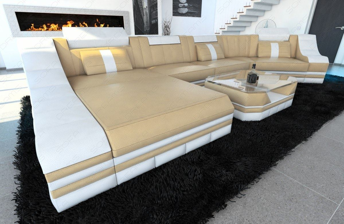 designer wohnlandschaft leder turino c form led beleuchtung ottomane sandbeige ebay. Black Bedroom Furniture Sets. Home Design Ideas