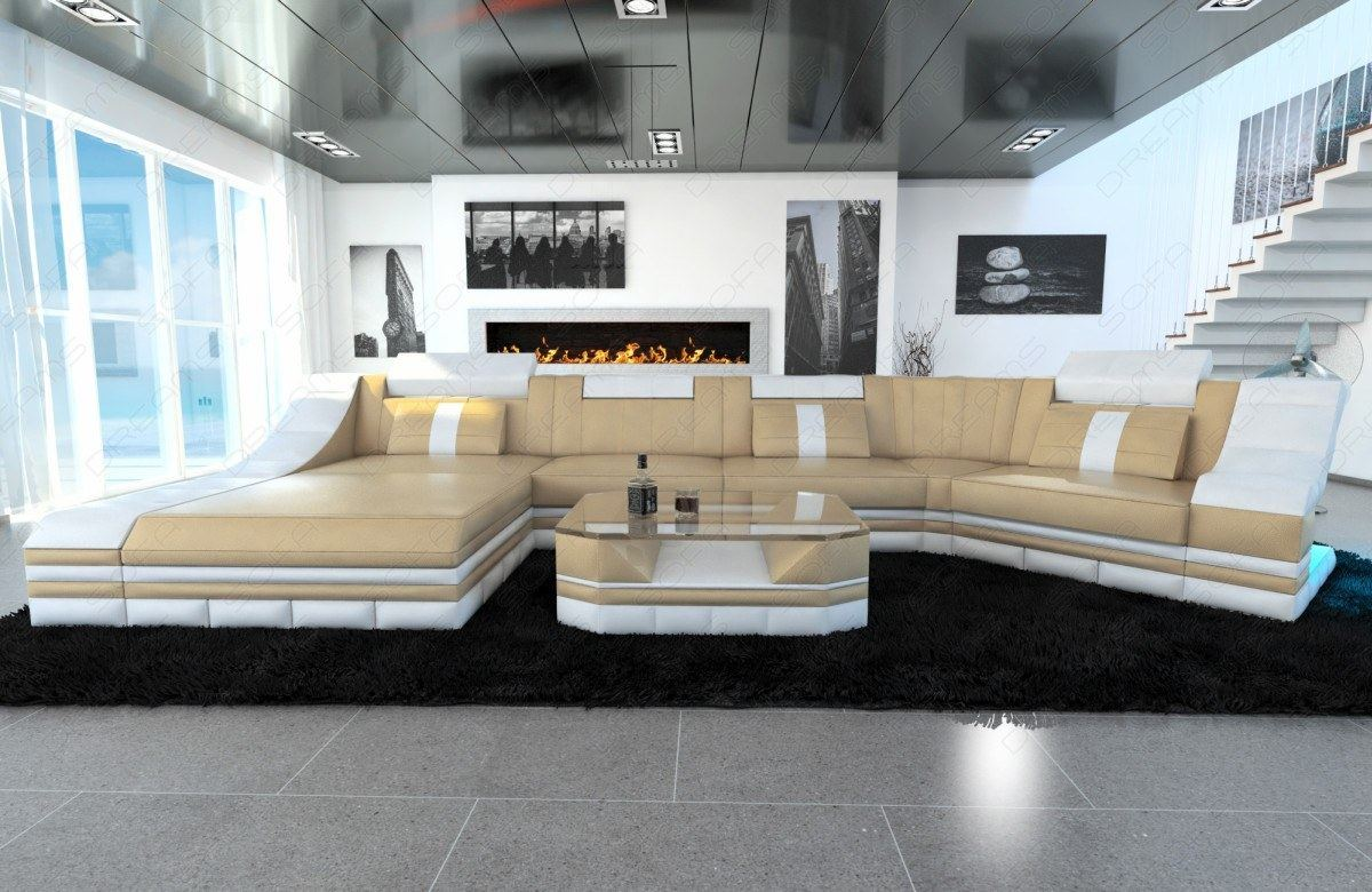 wohnlandschaft turino c form led beleuchtung leder. Black Bedroom Furniture Sets. Home Design Ideas