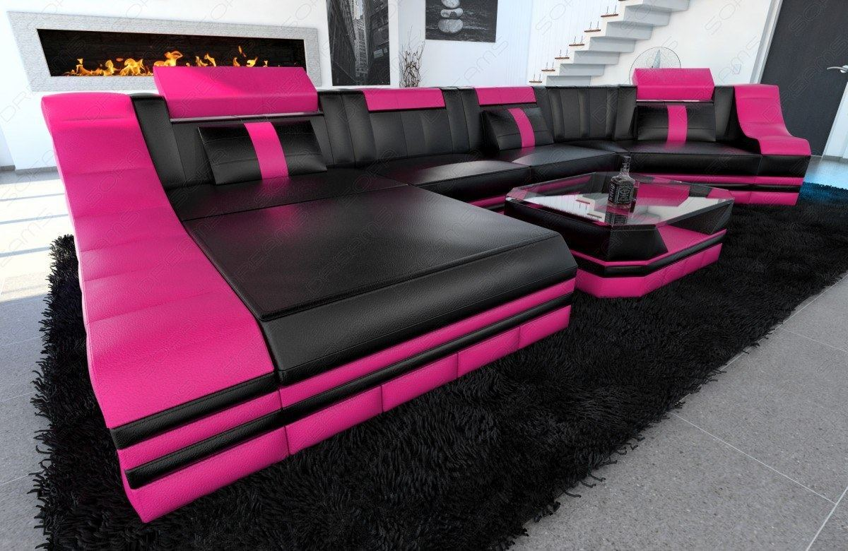 ledersofa wohnlandschaft turino c form couch sofa leder designer schwarz pink ebay. Black Bedroom Furniture Sets. Home Design Ideas