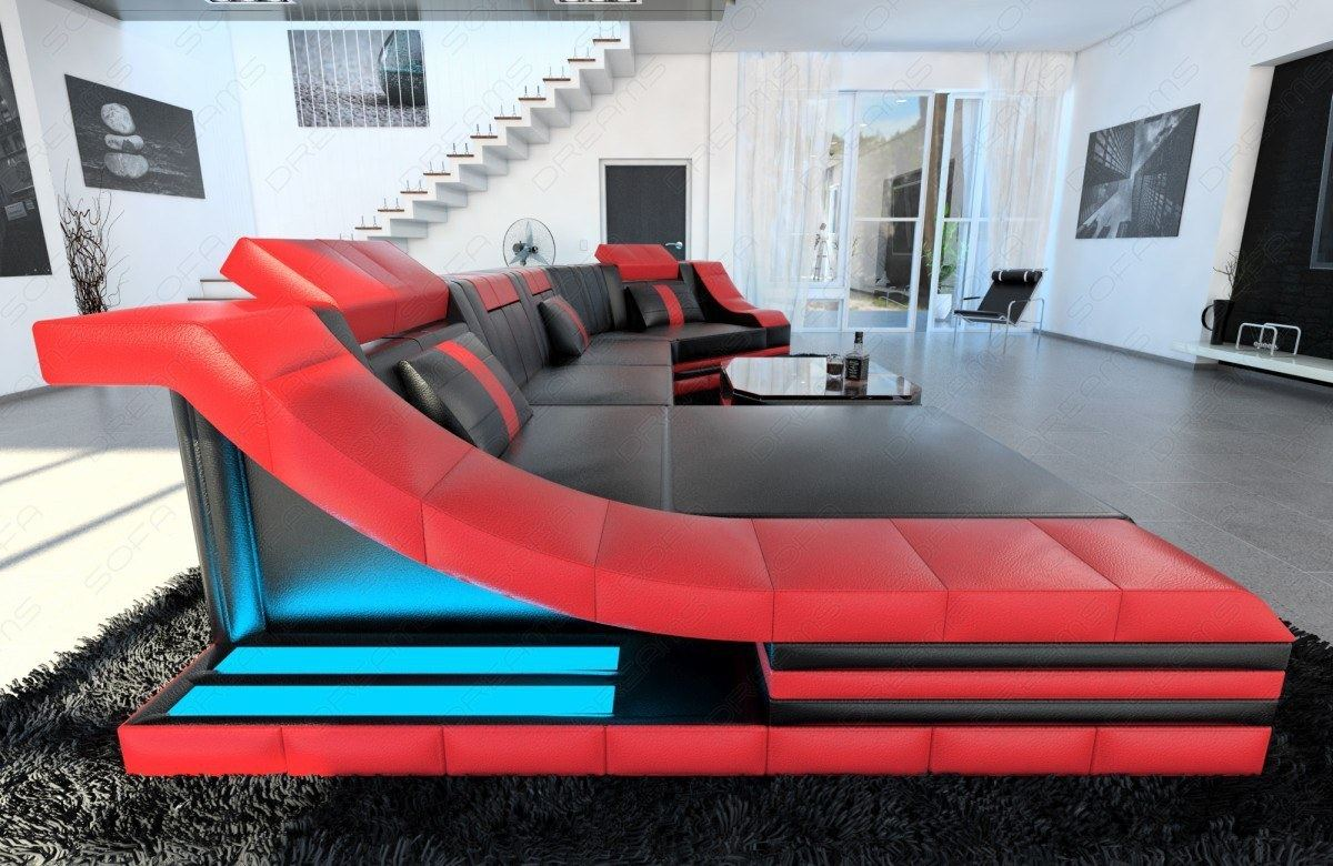 wohnlandschaft turino c form led beleuchtung leder designer couch leder sofa ebay. Black Bedroom Furniture Sets. Home Design Ideas