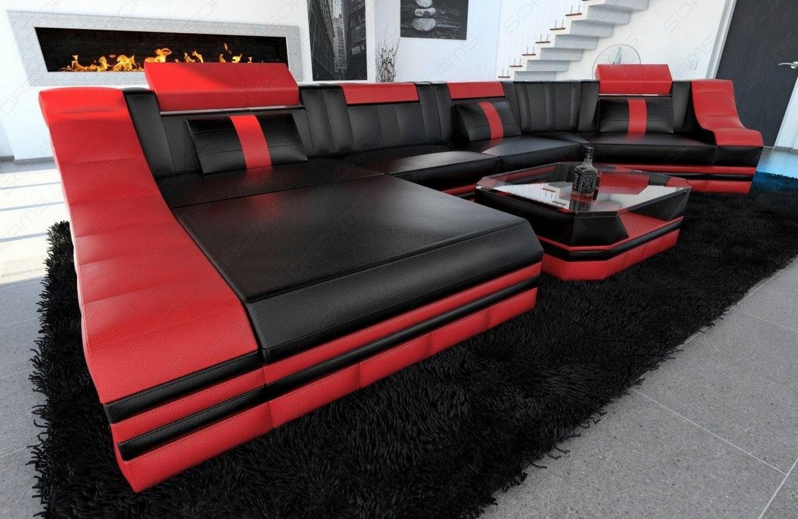 wohnlandschaft turino c form led beleuchtung designer leder couch schwarz rot ebay. Black Bedroom Furniture Sets. Home Design Ideas