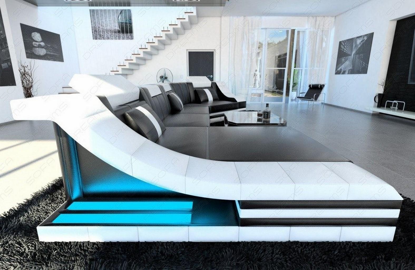 luxus wohnlandschaft turino c form sofa mit led beleuchtung recamiere ledercouch ebay. Black Bedroom Furniture Sets. Home Design Ideas