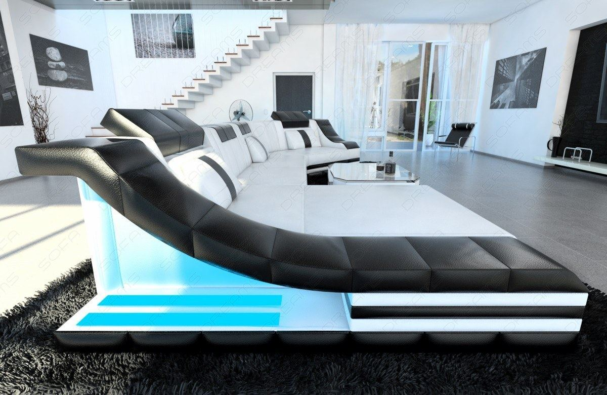 designsofa leder turino c form led beleuchtung designer sofa schwarz wei ebay. Black Bedroom Furniture Sets. Home Design Ideas