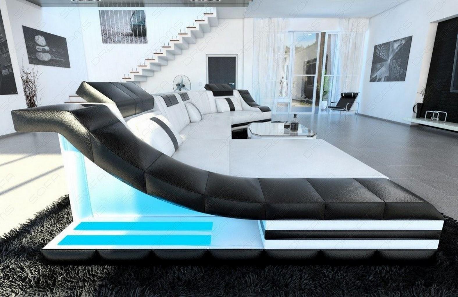 Leather Couch Turino C Form Led Lighting Designer Sofa White Black