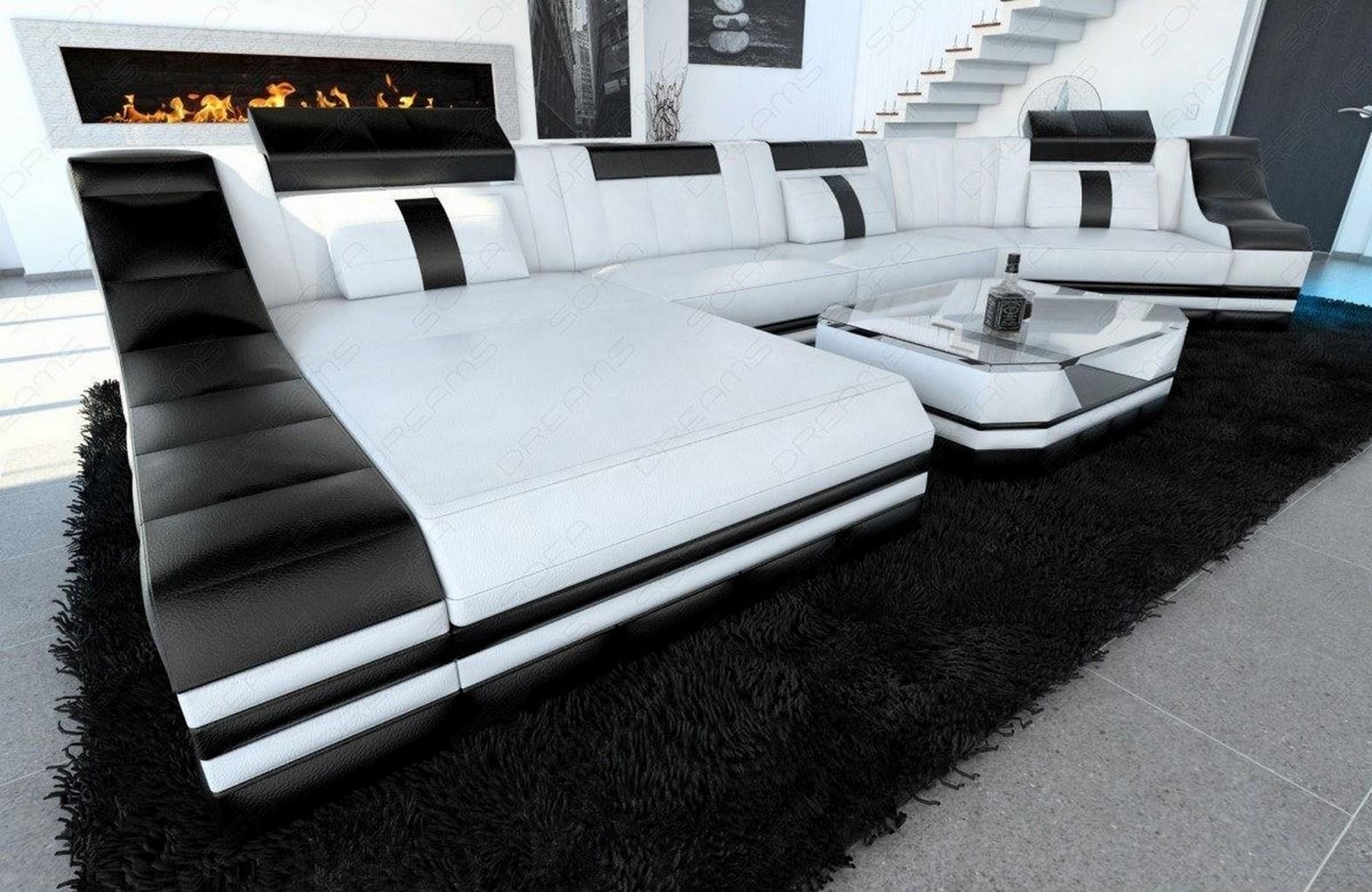 Wohnlandschaft Turino C Form Led Beleuchtung Leder Designer Couch Leder Sofa Ebay