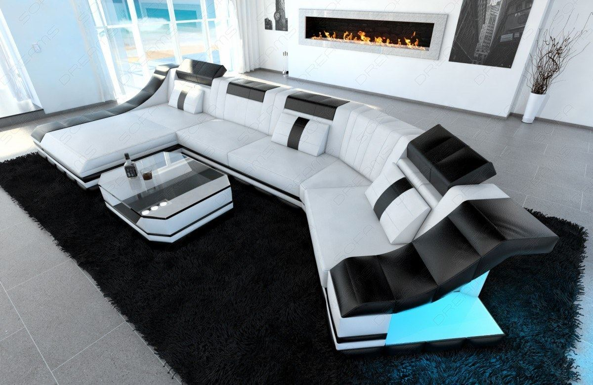 ledercouch turino c form led beleuchtung luxus ottomane design sofa wei schwarz ebay. Black Bedroom Furniture Sets. Home Design Ideas