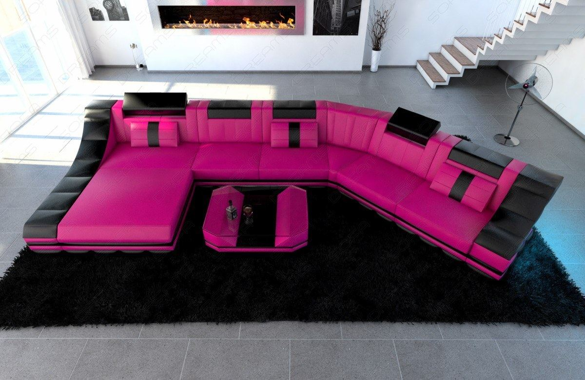 XXL Luxury Sectional Sofa TURINO CL with LED Lights pink ...