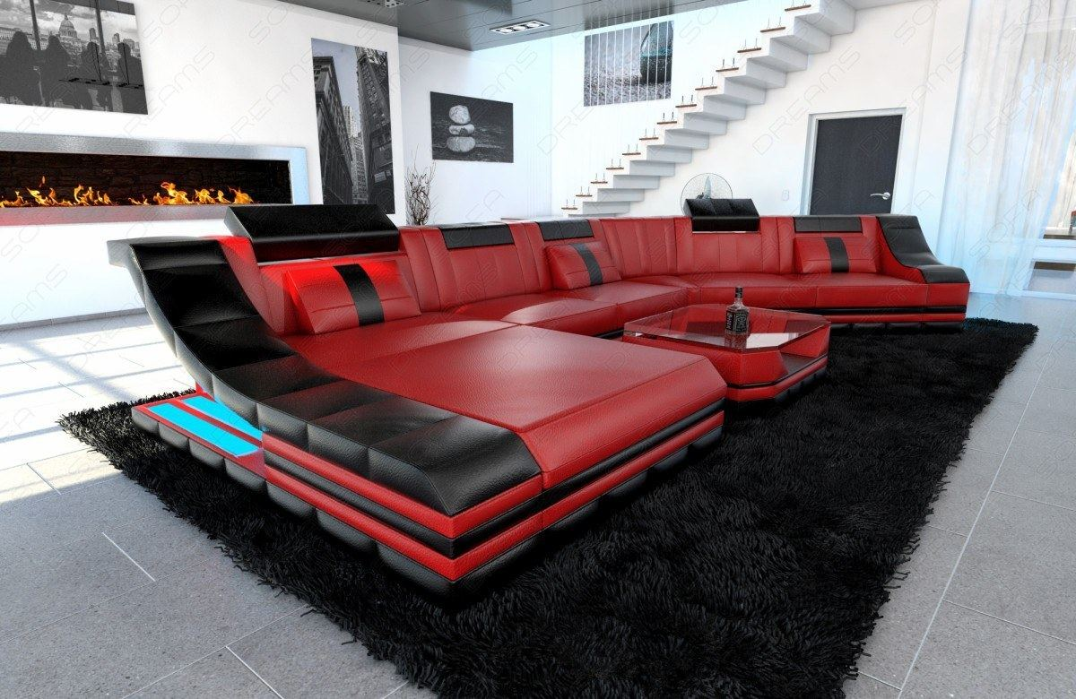 Xxl Luxury Sectional Sofa Turino Cl With Led Lights Red Black Ebay