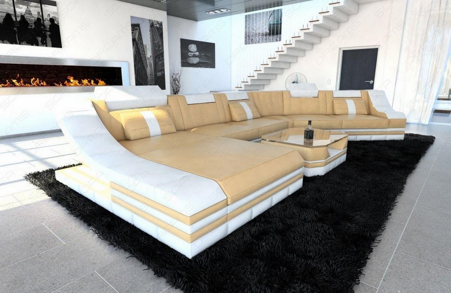 eckcouch xl wohnlandschaft turino cl mit led licht ledercouch sandbeige wei ebay. Black Bedroom Furniture Sets. Home Design Ideas