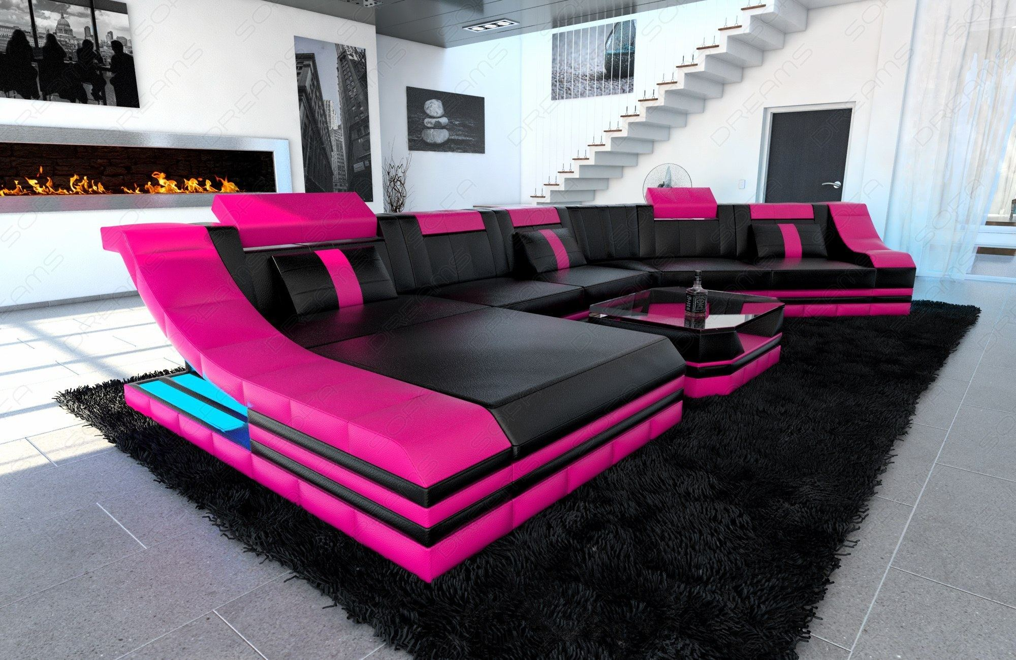XXL Luxury Sectional Sofa TURINO CL with LED Lights black pink