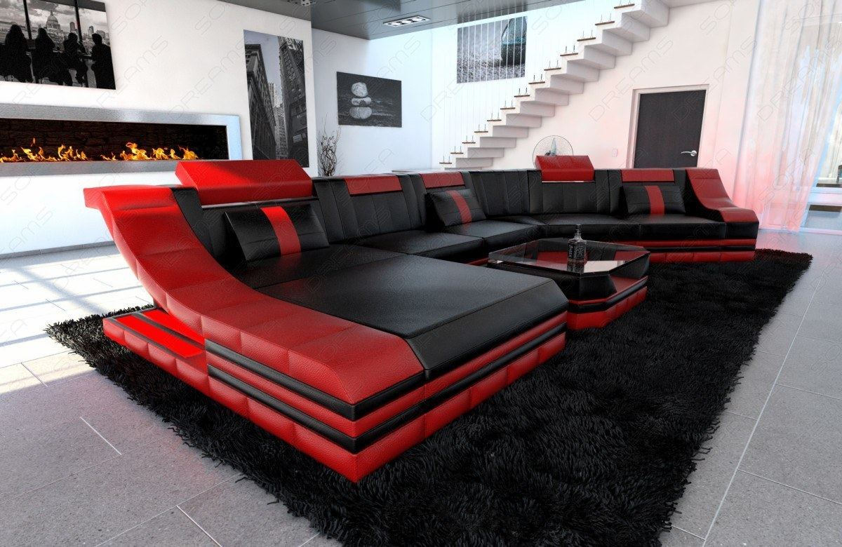 Xxl luxury sectional sofa turino cl with led lights black red ebay Italienische sofa