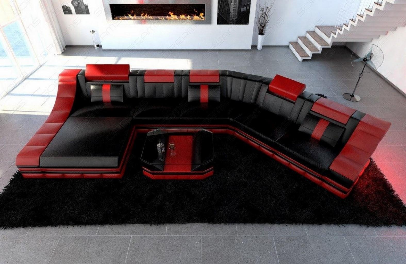 ledergarnitur wohnlandschaft turino cl mit led licht ledersofa couch ecksofa ebay. Black Bedroom Furniture Sets. Home Design Ideas
