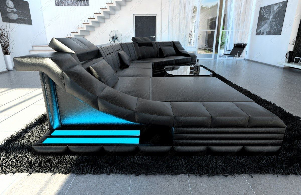 Xxl Luxury Sectional Sofa Turino Cl With Led Lights Black Black Ebay