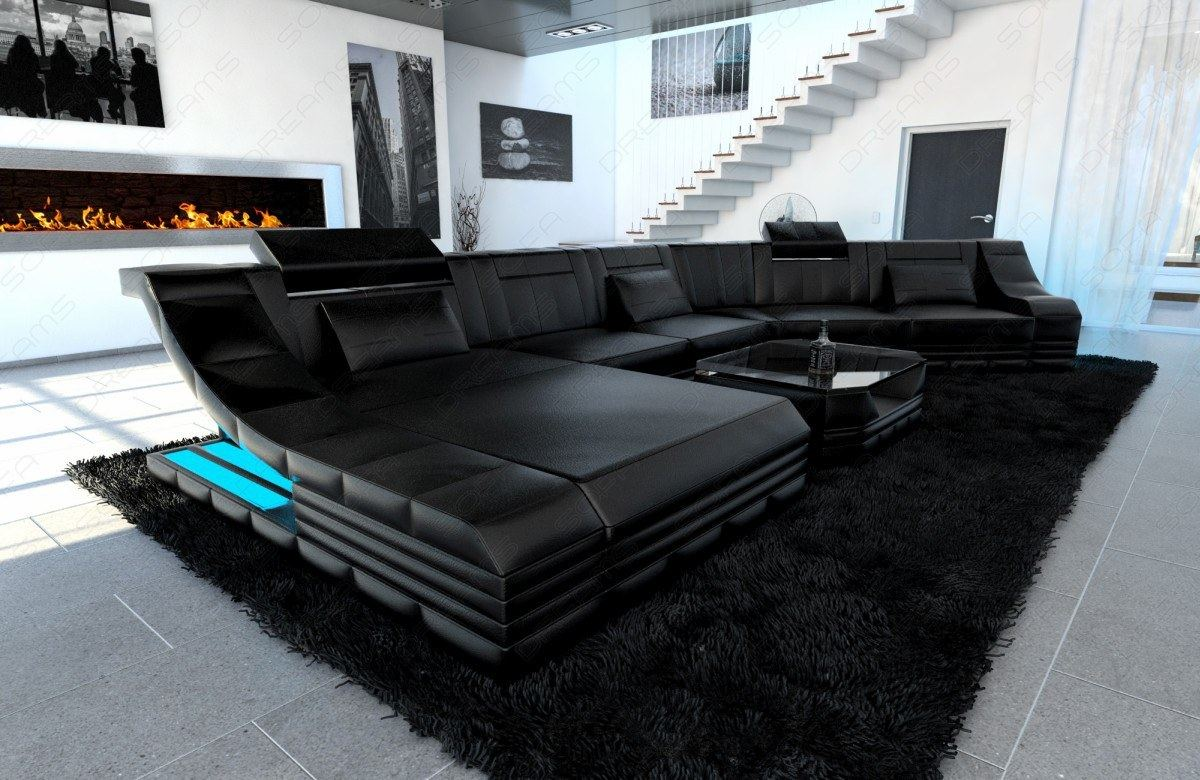 ledergarnitur wohnlandschaft turino cl mit led licht ledersofa couch ecksofa. Black Bedroom Furniture Sets. Home Design Ideas