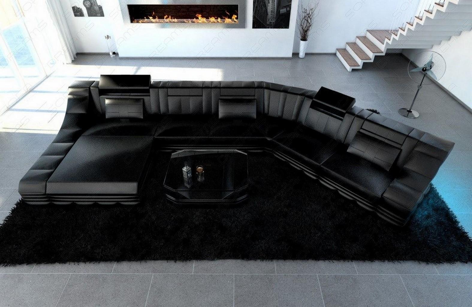 ledercouch luxus wohnlandschaft turino cl mit led licht eckcouch schwarz schwarz ebay. Black Bedroom Furniture Sets. Home Design Ideas