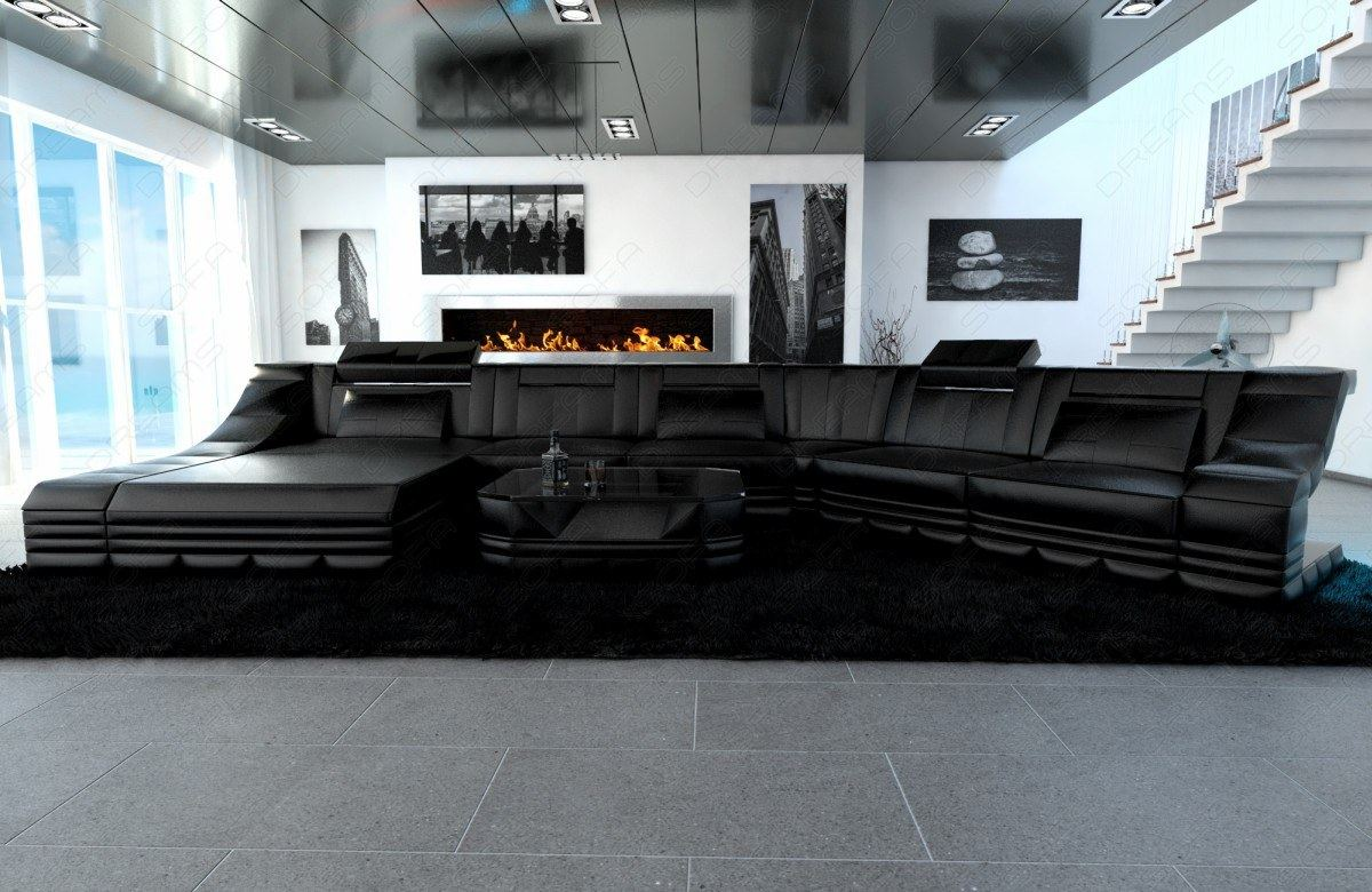 Ledercouch Luxus Wohnlandschaft Turino Cl Mit Led Licht Eckcouch Schwarz Schwarz Ebay