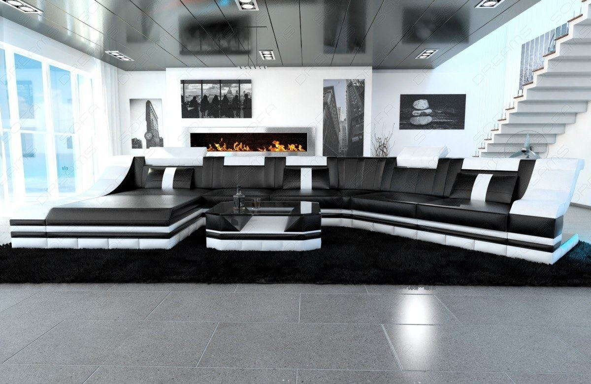 leather couch interior design turino cl with led lighting recamiere black white ebay. Black Bedroom Furniture Sets. Home Design Ideas