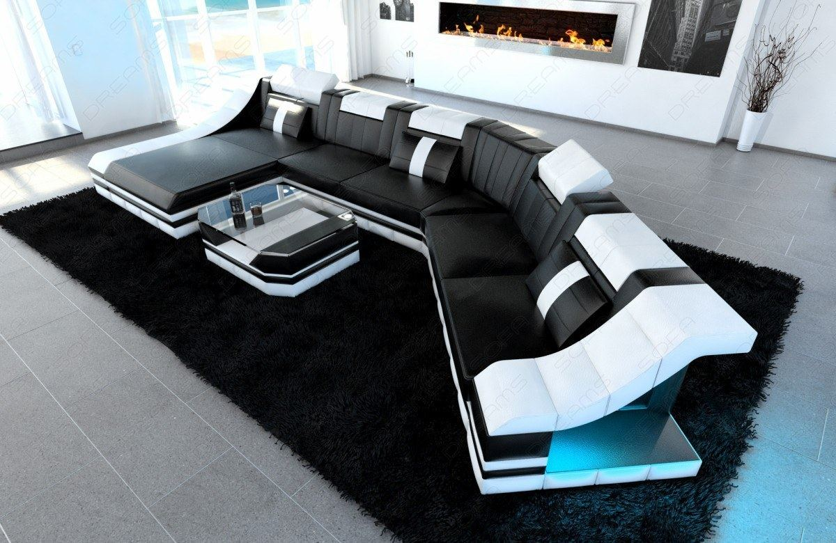 xxl luxury sectional sofa turino cl with led lights black. Black Bedroom Furniture Sets. Home Design Ideas