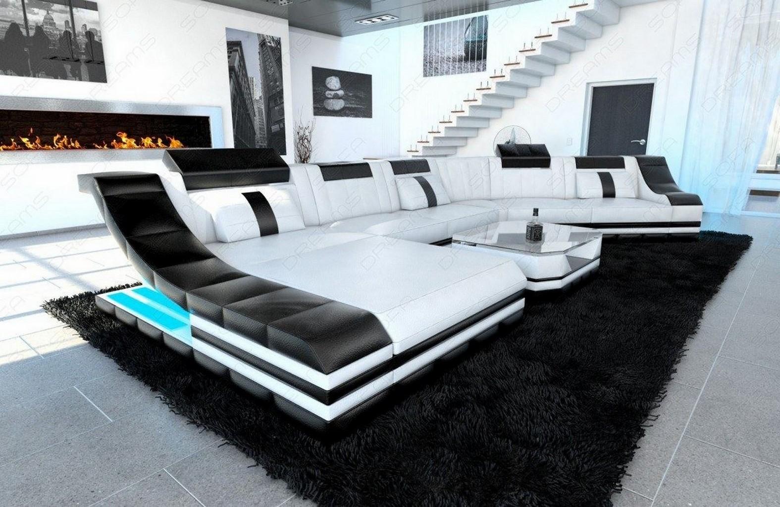 ledergarnitur wohnlandschaft turino cl mit led licht ledersofa couch ecksofa. Black Bedroom Furniture Sets. Home Design Ideas