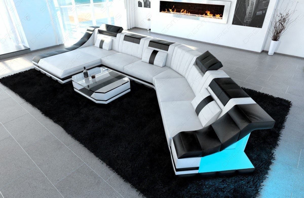 Xxl luxury sectional sofa turino cl with led lights white for Couch wohnlandschaft xxl
