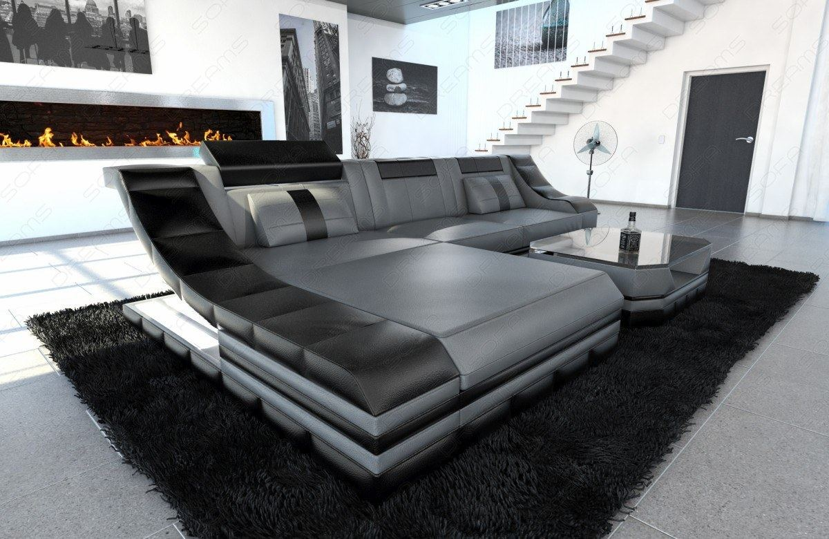 couchgarnitur ledersofa turino l form mit led licht eckcouch grau schwarz ebay. Black Bedroom Furniture Sets. Home Design Ideas