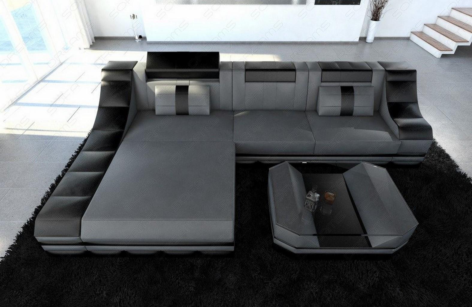 couchgarnitur ledersofa turino l form mit led licht eckcouch grau schwarz ebay. Black Bedroom Furniture Sets. Home Design Ideas