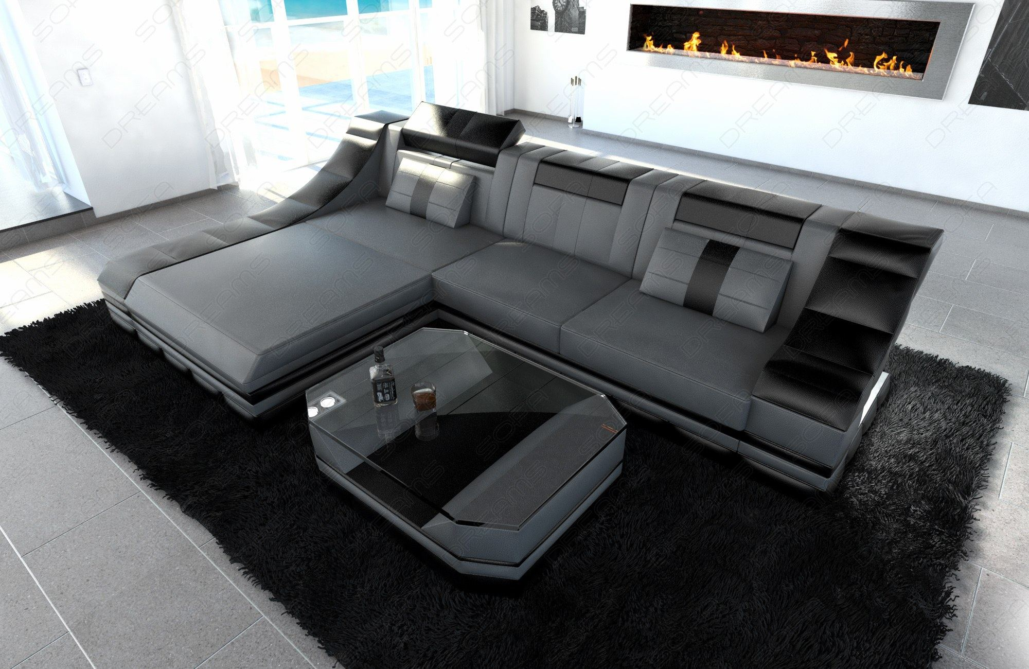 couchgarnitur ledersofa turino l form mit led licht. Black Bedroom Furniture Sets. Home Design Ideas