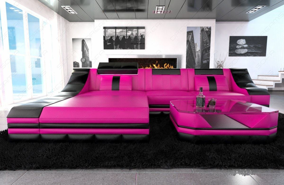 luxury sectional sofa turino l shape with led pink black ebay. Black Bedroom Furniture Sets. Home Design Ideas
