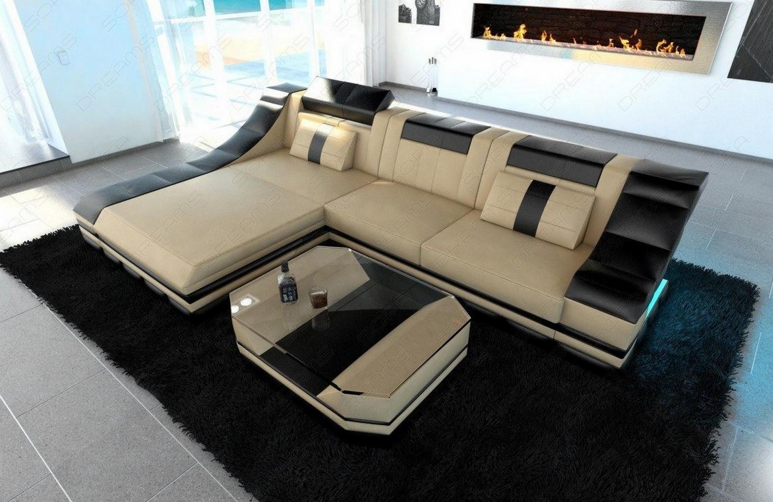 sofagarnitur ledersofa turino l form mit led licht eckcouch sandbeige schwarz ebay. Black Bedroom Furniture Sets. Home Design Ideas