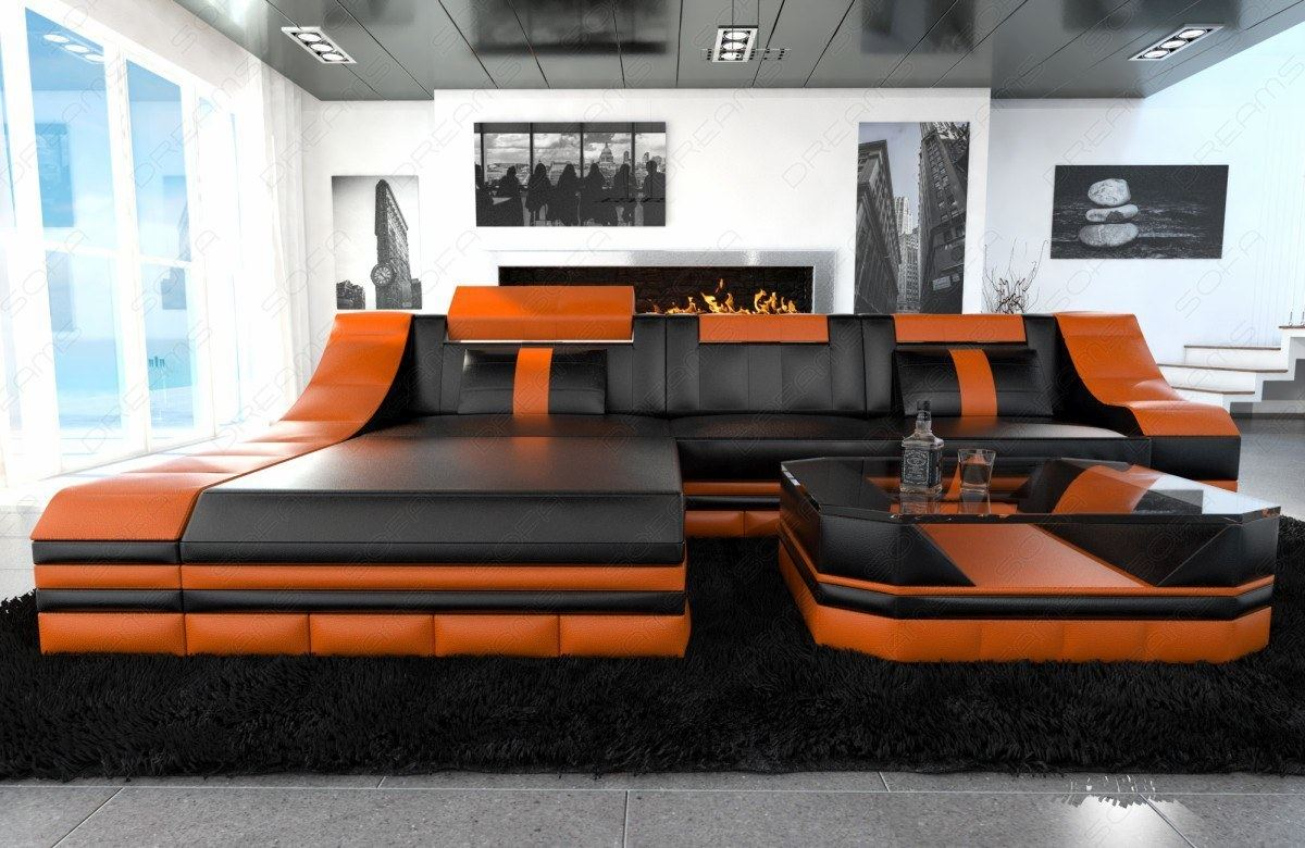luxury sectional sofa turino l shape with led black orange. Black Bedroom Furniture Sets. Home Design Ideas