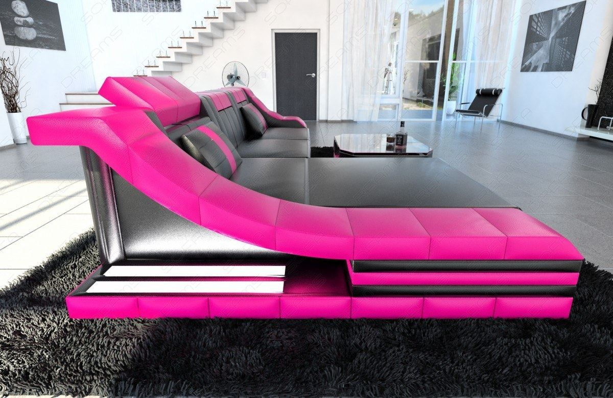 luxury sectional sofa turino l shape with led black pink ebay. Black Bedroom Furniture Sets. Home Design Ideas